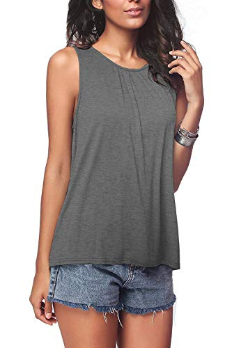 (Bloggerlove Women's Cute Sleeveless Pleated Back Closure Casual Tank Tops Grey L)