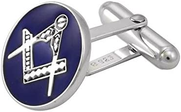 Sayers London Sterlingsilber Masonic Freimaurer blaue emaille runde Manschettenkn/öpfe