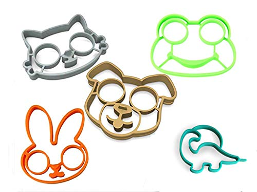 Egg Ring Mold Set Reusable Non Stick Silicone Fried Egg Molds Pancake Rings (Set of 5 have Bunny, Frog Dog Cat and Dinosaur)