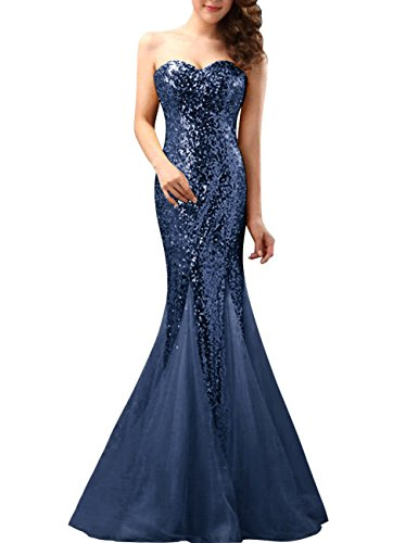 [Fluorodine Women's Sweetheart Sequin Lace Up Long Mermaid Bridesmaid Prom Dress US2 Navy Blue] (Blue Sequin Corset)