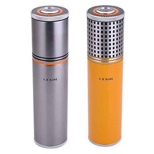LEBIN Gadgets Aluminium Alloy Travel Cigar Tube Portable Jar MINI Humidor Humidifier Hygrometer (silver)
