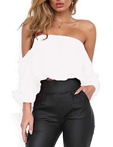 Women's Summer Long Sleeve Tube Blouse Chiffon Crop Top Short Blouses Shirts (M, White1)