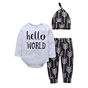 Newborn Infant Clothes Baby Boys Girls Letter Printing Tops+Pant+Hat 3PCS Outfits (White, 0-6 month)