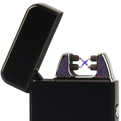 Mantello Tesla Coil Lighter USB Rechargeable Windproof Dual Arc Lighter, Matte Black