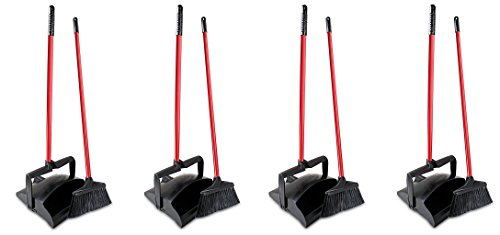 Libman Commercial 919 Lobby Dust Pan and Broom Set (Open Lid), 41'' Length, 12'' Width, Black/Red (Pack of 2) (4 PACK) by Libman Commercial
