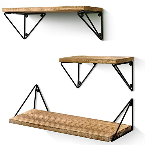 BAYKA Floating Mounted Set of 3 Rustic Wood Wall Shelves for Living Room, Bedroom, Bathroom, 3 Count