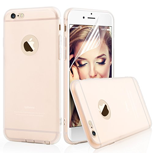 iPhone 6 6s Clear Case Cover - Aksuo Bumper Protective Back Matte TPU Soft Rubber Silicone Cover Phone Case and Nano Anti-scratch Skin Flim Screen Protector for Apple iPhone6 4.7 inch