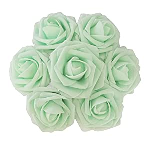 J-Rijzen Jing-Rise Artificial Flowers Real Looking Fake Roses with Stem for DIY Wedding Bouquets Centerpieces Party Baby Shower Home Decorations (Mint/Light Green, 30pcs Standard) 46