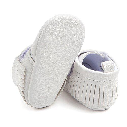 Antheron Infant Moccasins - Unisex Baby Girls Boys Tassels Soft Sole Toddler First Walker Newborn Crib Shoes(White,0-6 Months) - Image 5