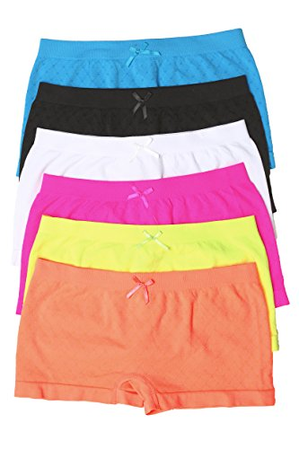 Sakkas 0192SB Women's Seamless Stretch Panties / Boy Shorts - Assorted Color 6 Pack - Neon - One Size