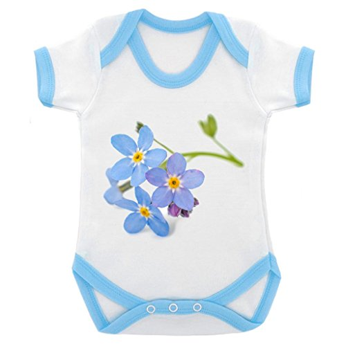 Forget Me Not Suit - Forget Me Not Image Baby Bodysuit White with Blue Trim