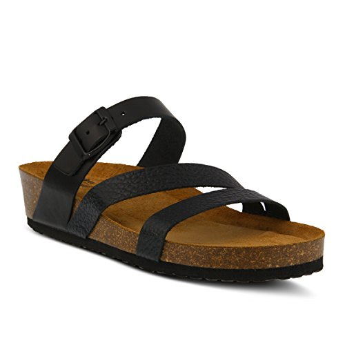 Spring Step Women's Style Flossie Black Euro Size 36 Leather Slide Sandal