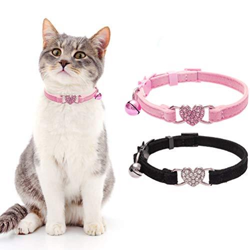 BINGPET Cat Collars Breakaway with Bell, Heart Bling Collar Safety with Soft Velvet Adjustable for Kittens, 2 Pack