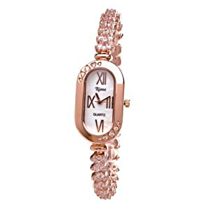Ladies Luxury CZ Crystals Bracelet Watch Rose Gold Tone Oblong Shaped Dial-RCW18