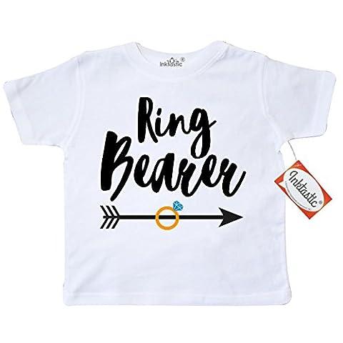 Inktastic Little Boys' Ringbearer with Arrow Toddler T-Shirt 5/6 White