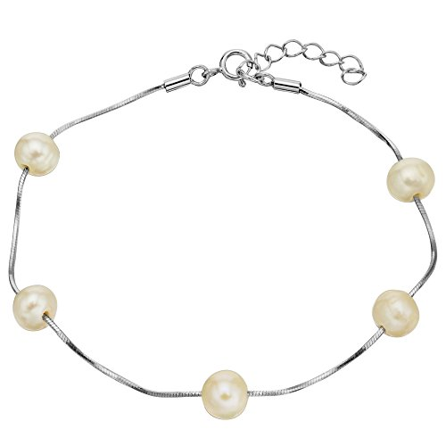 Silver Cultured Bracelets (EVER FAITH 925 Sterling Silver Tin Cup 6MM Freshwater Cultured Pearl Station Bracelet - One Layer)