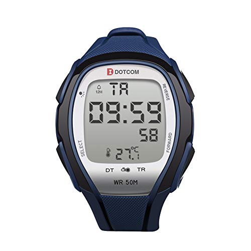 Temperature Sensor Watches Digital Watches Waterproof Sports Watch EL Backlight Stopwatch Thermometer Watch (Blue)