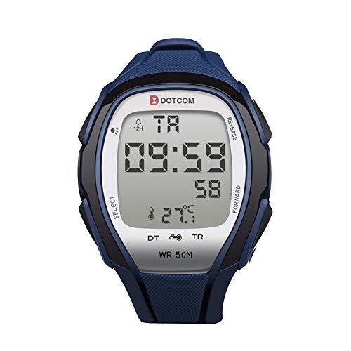 Temperature Sensor Watches Digital Watches Waterproof Sports Watch EL Backlight Stopwatch Thermometer Watch (Blue) - Twin Sensor Watch