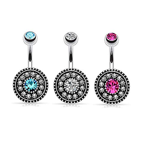RYANDYPE 2-5PCS Stainless Steel Dangle Belly Button Rings for Women Curved Navel Barbell Screw Body Jewelry Piercing