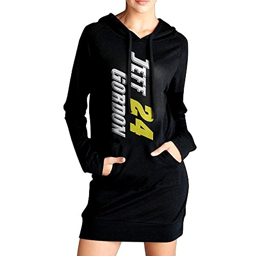 Womens Jeff-gordon #24 Raceway Logo Hoodie Black Long Sleeve Sweatshirt Dress With Pocket X-Large