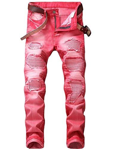 - Lavnis Men's Distressed Ripped Jeans Casual Long Straight Slim Fit Skinny Denim Pants 38