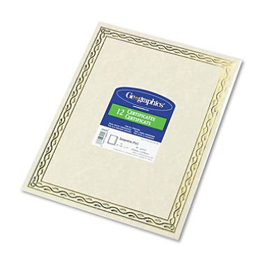 (Geographics - Foil Stamped Award Certificates, 8-1/2 x 11, Gold Serpentine Border, 12 per Pack)