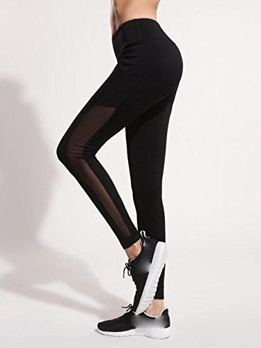 Women Sport Yoga Pants,Jchen(TM) Women Mesh Patchwork Leggings Fitness Sports Gym Running Yoga Athletic Pants (XL, Black)
