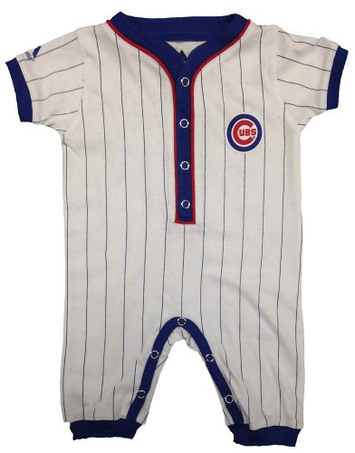 Chicago Cubs Baby Uniform Pinstripe Coveralls by Majestic Select Infant / Toddler / Youth Size: 0/3 Months