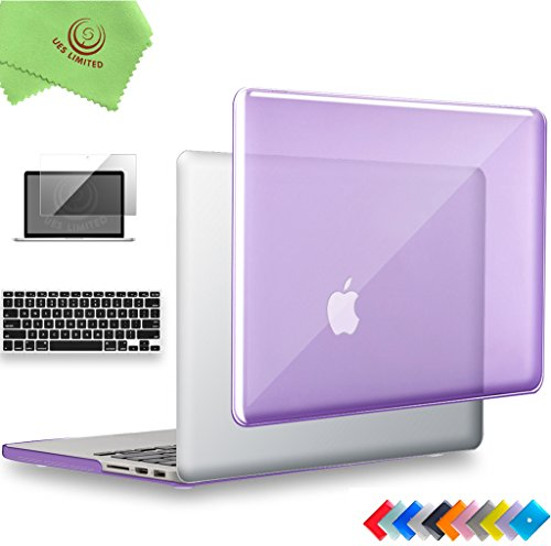 Premium Crystal Hard (UESWILL 3 in 1 Glossy Crystal Hard Shell Case for MacBook Pro (Retina, 15 inch, Mid 2012/2013/2014/Mid 2015), Model A1398, NO CD ROM, NO Touch Bar + Keyboard Cover and Screen Protector, Purple)