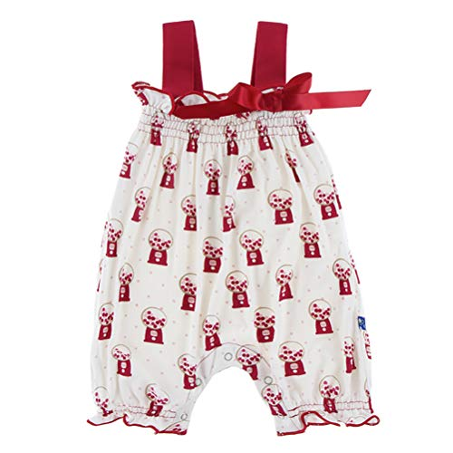 KicKee Pants Little Girls Print Gathered Romper with Bow, Natural Gumball Machine, 6-12 Months ()
