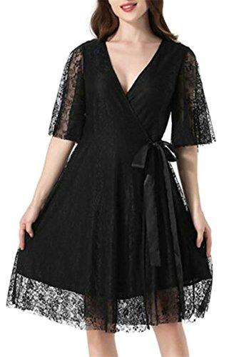 Jaycargogo Sexy Des Femmes De Cou V Profond Dentelle À Manches Courtes Crochet Balançoire Mini-robe Noire