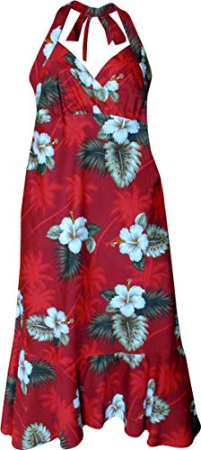 Hawaiian Halter Dress Hibiscus Island Red XL 328-2798