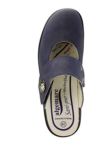 Algemare Damen Clog Ozean Nubuk mit Sani-pur Wechselfußbett Pantolette 5948_8788 Sandalette, Größe:41