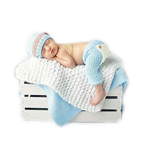 Pinbo Baby Photography Prop Crochet Knitted Costume Hat Pants