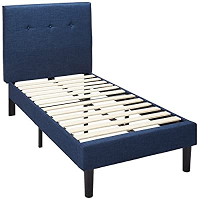 Zinus Upholstered Navy Button Detailed Platform Bed/Wood Slat Support