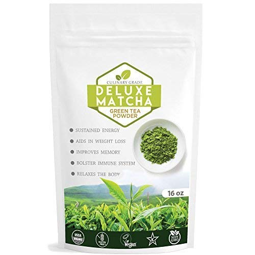 Deluxe Matcha (16oz) | Culinary Matcha from Japan | 100% Organic Green Tea Powder Best for Baking | Green Tea Latte | Matcha Cookies | Matcha Chocolates | Matcha Cake | Matcha Ice Cream