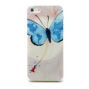 Inask Back Cover Cute Case for iphone 5s with LCD Film Screen Protector Flying Little Girl Butterfly You Can Fly