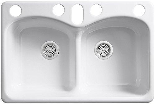 KOHLER K-6626-6U-0 Langlade Smart Divide Undercounter Kitchen Sink, White