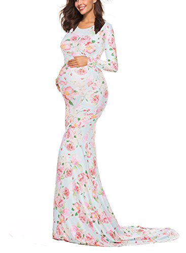 Saslax Maternity Elegant Fitted Maternity Gown Long Sleeve Slim Fit Maxi Photography Dress Scoopneck Mint Peach S