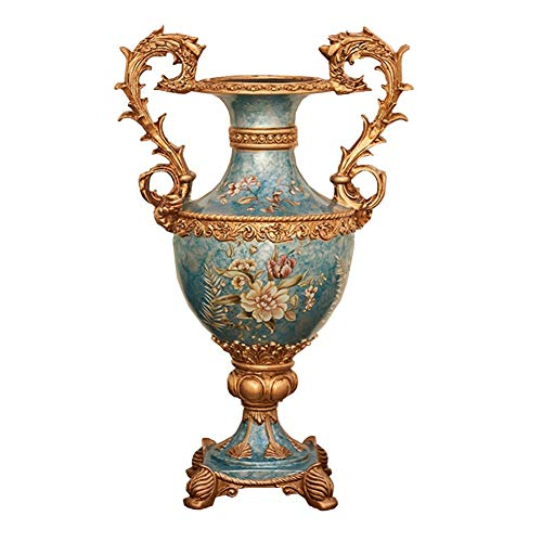 ZR-DECOR American-Style Retro Resin Large Flower Vases for Living Dining Room Table Centerpiece Bedroom Office Hotel Home Decoration Hand-Painted Tall Decorative Vase, 14.5 × 41× - Bud Hand Vase Painted