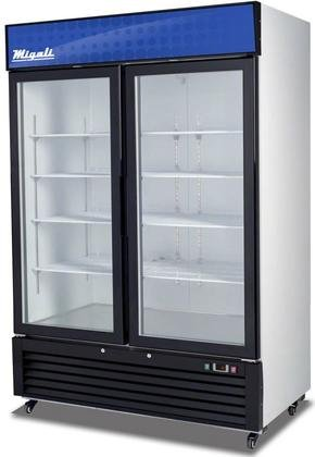 Migali C-49RM Competitor Series Refrigerator Merchandiser, 54-1/4' W, 49.0 cu. ft. Capacity, 2 Hinged Glass Doors, White Sides/White Interior/Black Front