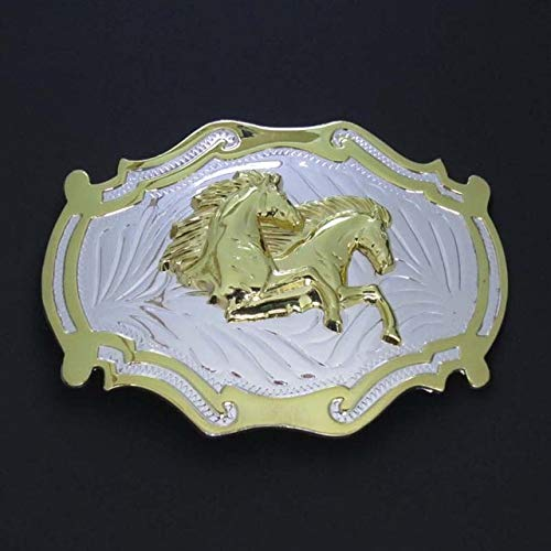 Buckes - Horsehead & Double Horse & Bull Head Western Belt Buckle Silver with Gold Three Kinds of Accessories - (Color: Double Horse)