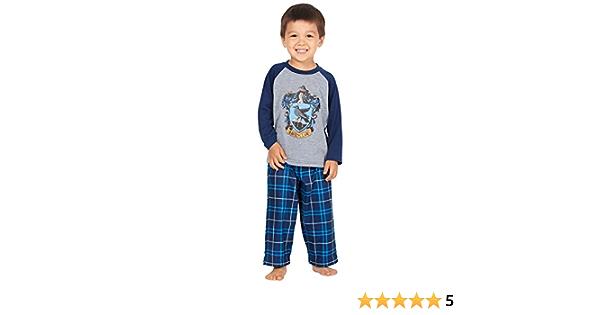 HARRY POTTER Los chicos Raglan camisa y pantalones Pijama Plaid Set- (Ravenclaw, 4T)