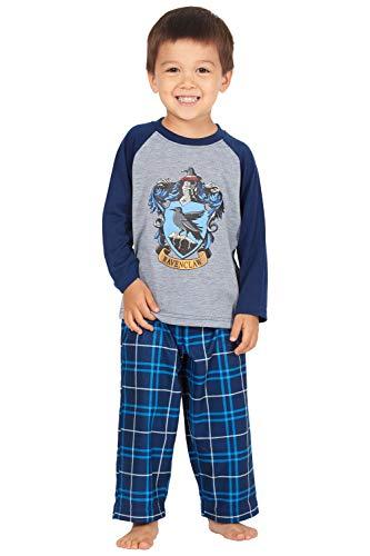 HARRY POTTER Boys' Raglan Shirt and Plaid Pajama Pants Set- All 4 Houses (2T, Ravenclaw Blue)