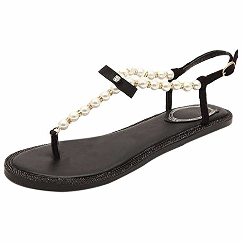 Perles Plats Femmes Roma Z Plage Elegantes Noir Chaussures Boheme Tongs QIYUN Talons Ete Sexy qIESwWI7