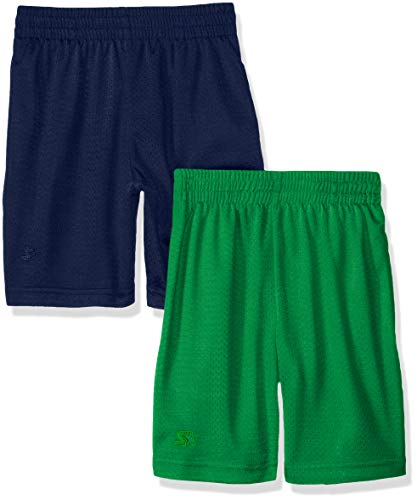 Boys Shorts - Starter Big Boys' 2-Pack Basic Mesh Short, Navy with Team Field Green, Large