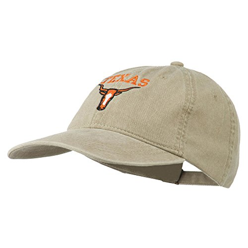 Texas Longhorn Embroidered Washed Cap - Khaki OSFM