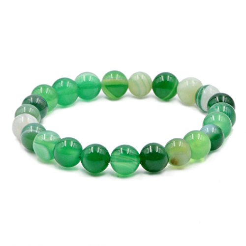 Ad Beads Natural Gemstone Round Beads Stretch Bracelet Healing Reiki 8mm (Green Banded (Green Precious Stone)