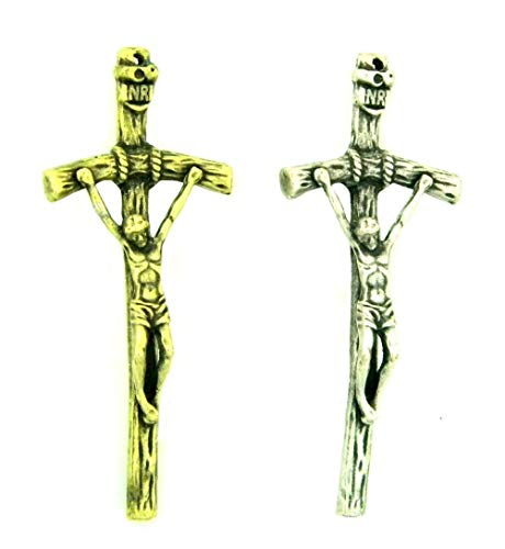 PlanetZia Pope Paul II Crucifix, Papal Cross Pendant Charm Antique Silver or Antique Gold for Jewelry Making TVT-P47 (Antique Gold)