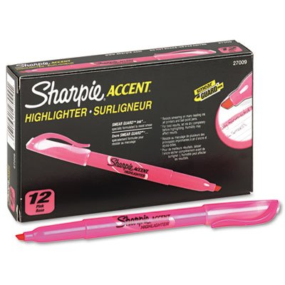 Accent Pocket Style Highlighter, Chisel Tip, Fluorescent Pink, 1 Dozen, Total 12 DZ, Sold as 1 Carton
